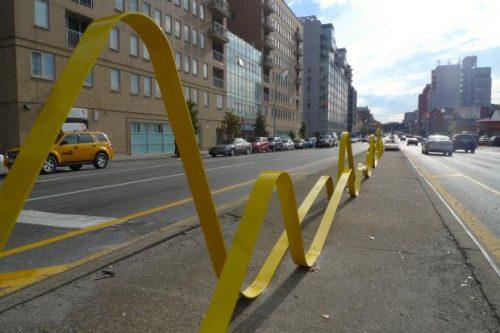 Public Art, Brooklyn, New York: Yellow metal ribbon ondulations.