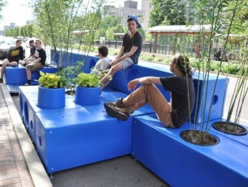 Commonwealth Avenue, Boston: Parklet - blue modular giant lego with seating and plants.