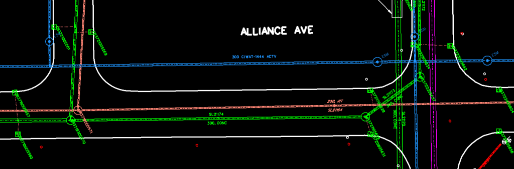 a map of alliance street showing the locations and specifications of various city utilities