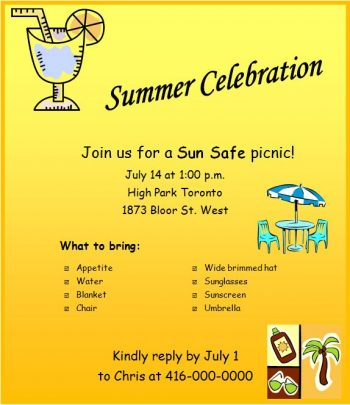 Sun Safe Sample Flyer