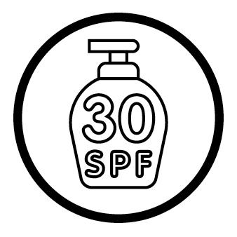 bottle of 30 SPF (sun protection factor) sunscreen