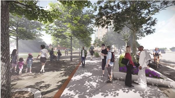 Rendering of the new Dundas Street West showing people interacting, wide sidewalks, street trees and bike lanes