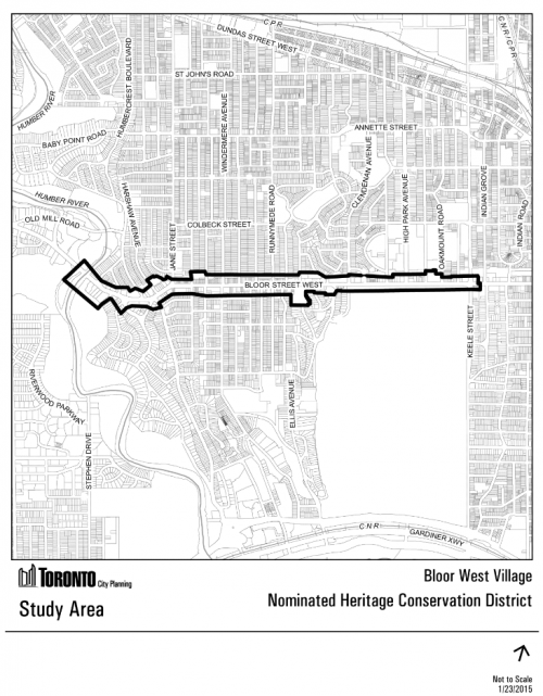 This is a map of the study area boundary for the Bloor West Village HCD Study