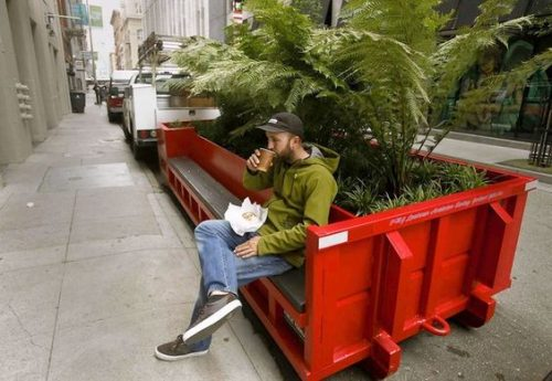 Yerba Buena, San Francisco: Parklet - red metal bin with accessible seating and plants.
