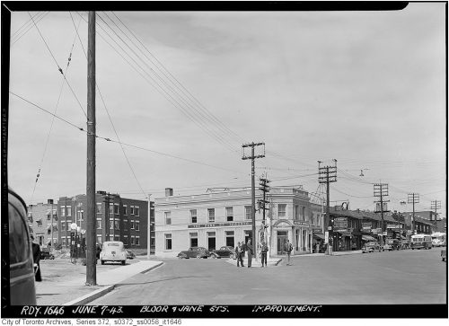 This is a photograph of the intersection of Bloor Street West and Jane Street in 1943.