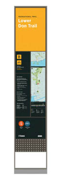 Orange trail wayfinding sign trailhead pillar