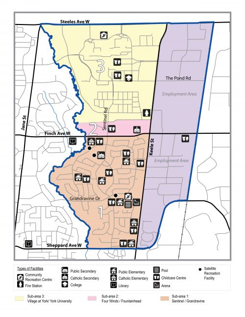 This map shows the location of community services and facilities in the Keele and Finch area.