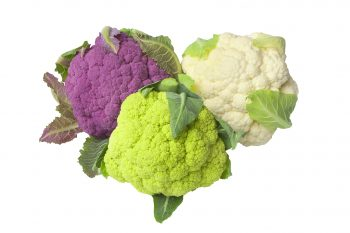 Raw purple, green and white Cauliflower
