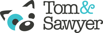 logo for Tom&Sawyer with illustrated dog
