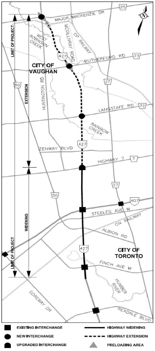 Map of the Highway 427 Expansion Project boundaries, showing the extension from Highway 7 to Major Mackenzie Drive, as well as the widening of the lanes between Highway 7 and Finch Avenue West