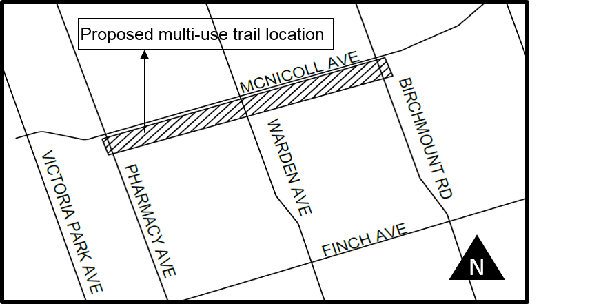 Map of the planned Finch Corridor Trail segment location