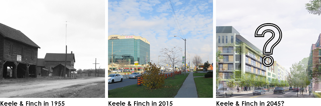 This image contains three parts. The first is a photograph of Keele and Finch in 1955 showing a barn and farmland. The second is an photograph of Keele and Finch in 2015 with sidewalks and a mid-rise office building with retail on the ground floor. The last image is a generic artist's rendition of a street with mid-rise sized buildings lining both sides, along with street trees and wider sidewalks.