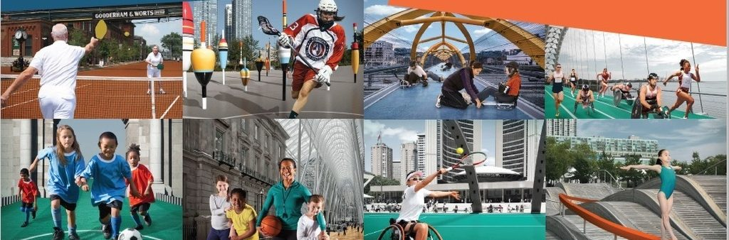 Seniors playing pickleball; Female aboriginal lacrosse player; female coach preparing youth for sledge hockey game on pedestrian bridge at Front Street; para-athletes racing on the Humber Bridge; youth chasing soccer ball; female coach holding basketball with three youth in BCE Place; wheelchair athlete playing tennis; youth gymnast walking on a balance beam by the Wave deck on Queens Quay