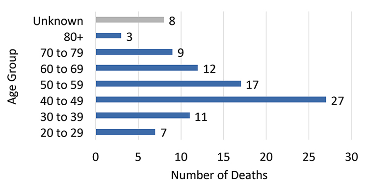 This graph shows the number of homeless deaths by age (from 20 to 80+)