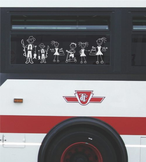 Illustrated family on side of TTC bus