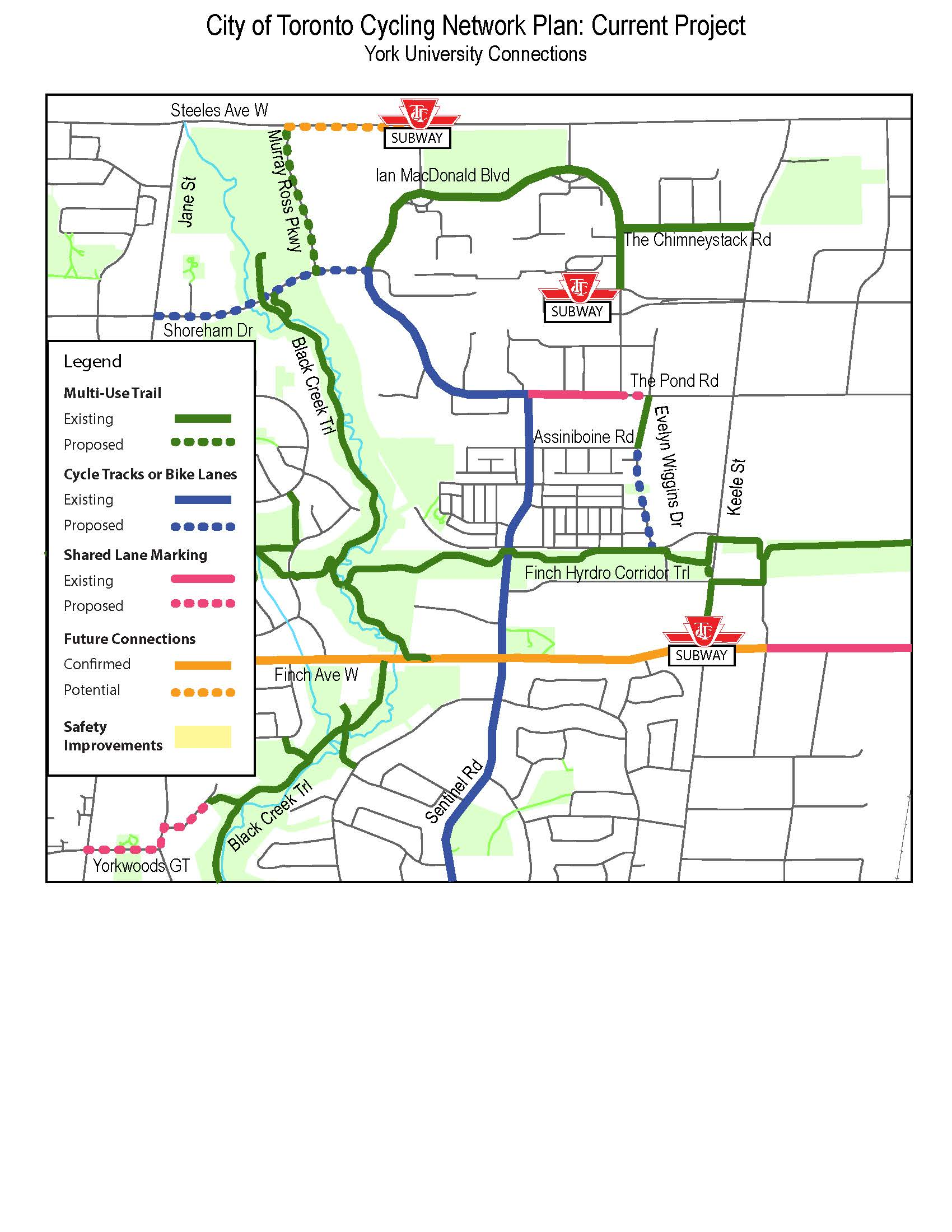 This is a map of the York University Cycling Connections. It shows existing multi-use trails on Ian MacDonald Boulevard, Chimneystack Road, Black Creek Trail and Finch Hydro Corridor. It shows existing bike lanes and cycle tracks on Pond Road and Sentinel Road, and it shows existing shared lanes on the Pond Road and Finch Avenue West. It also shows the following proposed bikeways that would connect to existing bikeways: a multi-use trail on Murray Ross Parkway from Steeles Avenue to Shoreham Drive; bike lanes on Shoreham Drive from Jane to Pond Road; bike lanes on Evelyn Wiggins Drive; and shared lanes on Yorkwoods Gate.