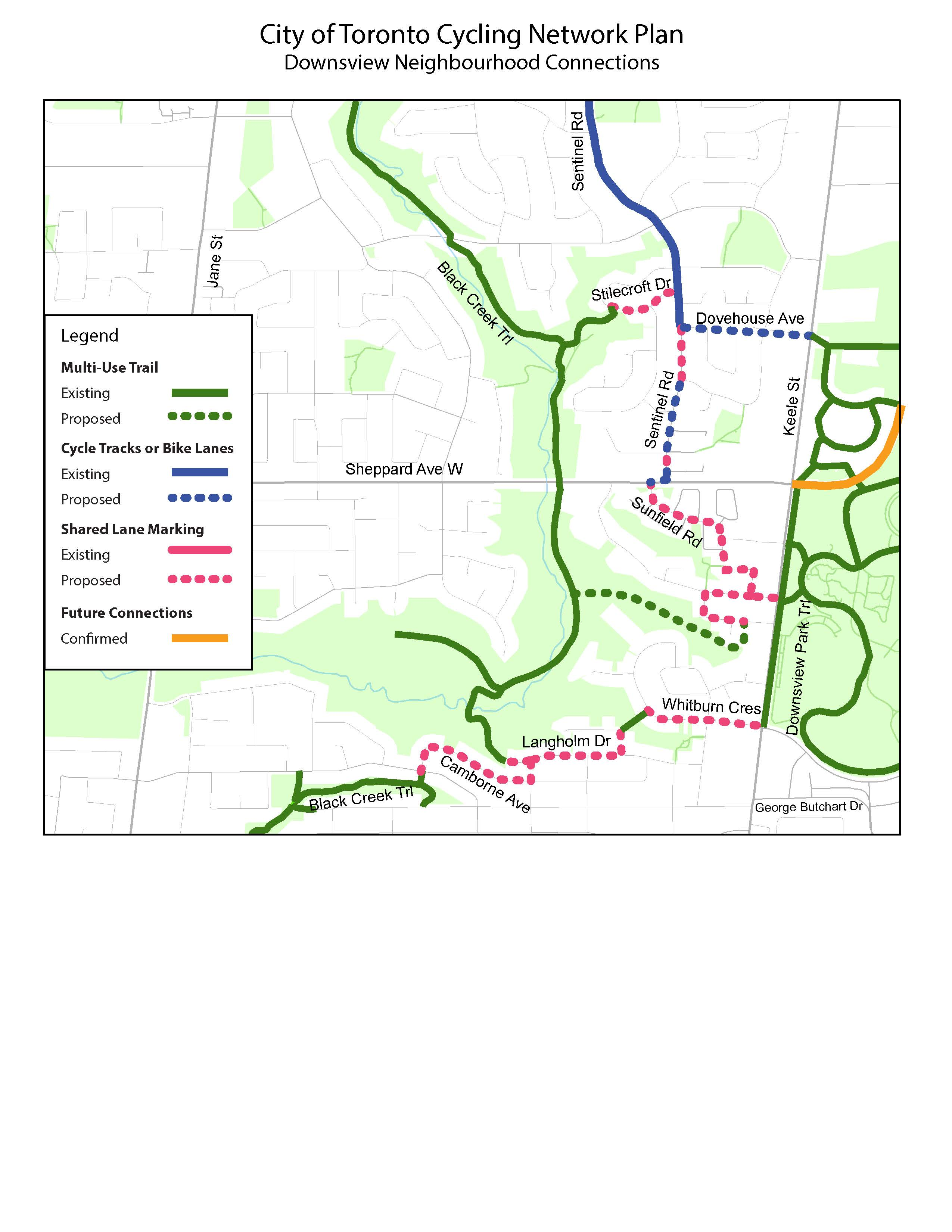 This is a map of the Downsview Cycling Connections. It shows the existing Black Creek Trail and Downsview Park trails, and the existing bike lane on Sentinel Road. It also shows the following proposed bikeways that would connect to the existing trails: a shared lane on Stilecroft Drive from the Black Creek Trail to Sentinel Road; a bike lane on Dovehouse Avenue from Sentinel Road to Keele Street; a bike lane and shared lane on Sentinel Road from Dovehouse Avenue to Sheppard Avenue; and shared lanes on Sunfield Road, Whitburn Crescent, Langholm Drive, and Camborne Avenue that connect to the Black Creek Trail, Keele Street and the Downsview Park Trails.