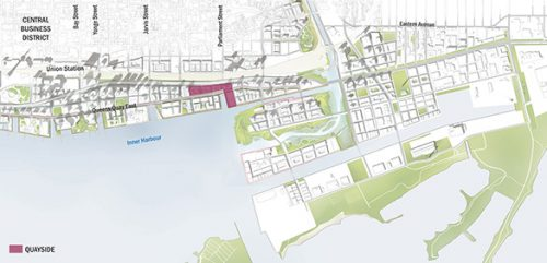 Map showing the Quayside neighbourhood in the context of the larger waterfront