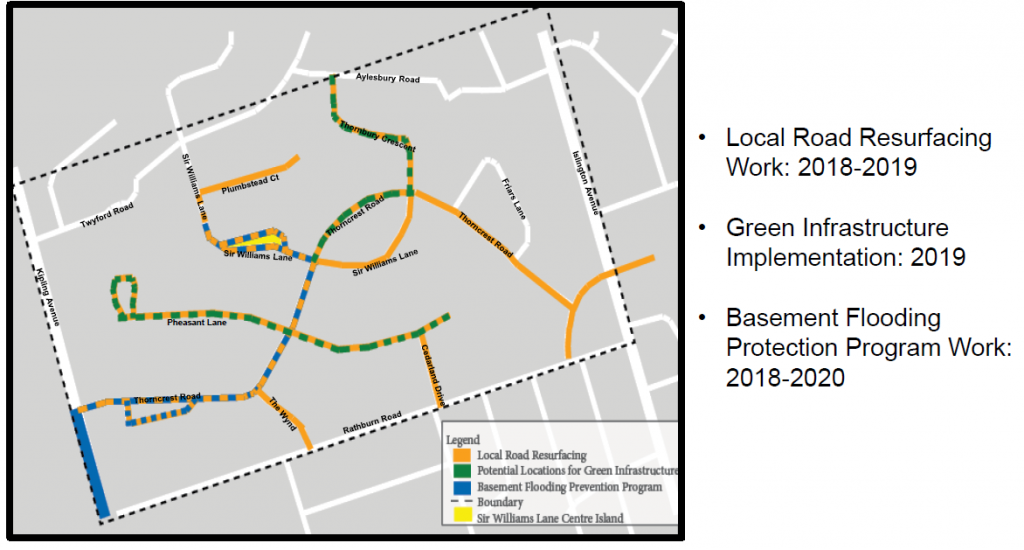 Map describes: Local road Resurfacing from 2018-2019, Green Infrastrucutre Implementation, in 2019 and Basement Flooding Protection Work, from 2018 - 2020 within the Thorncrest Village neighbourhood