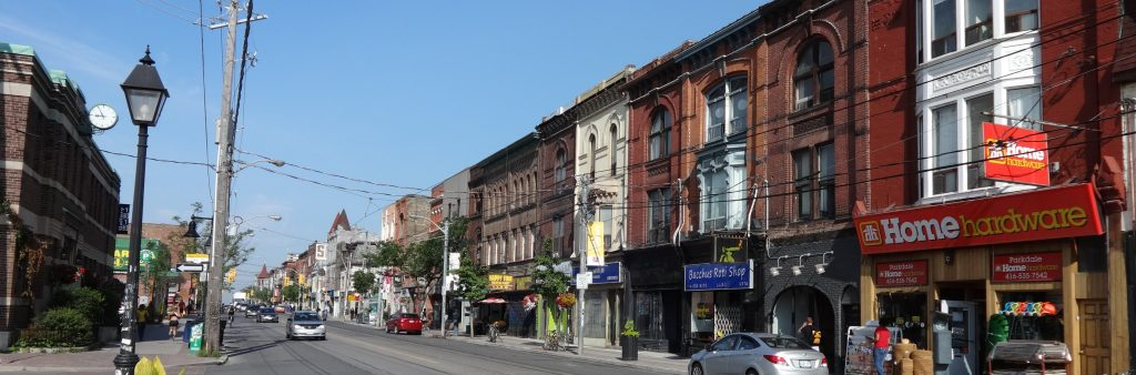 This is a photograph of Queen Street West and Cowan Avenue