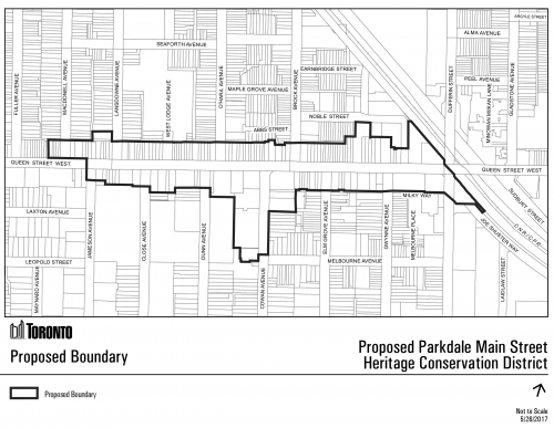 Proposed boundary for the Parkdale Main Street HCD Plan