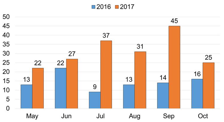 Bar graph of opioid overdose deaths in Toronto.
