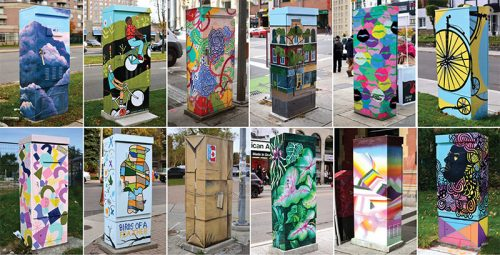 hand-painted traffic signal boxes throughout the city