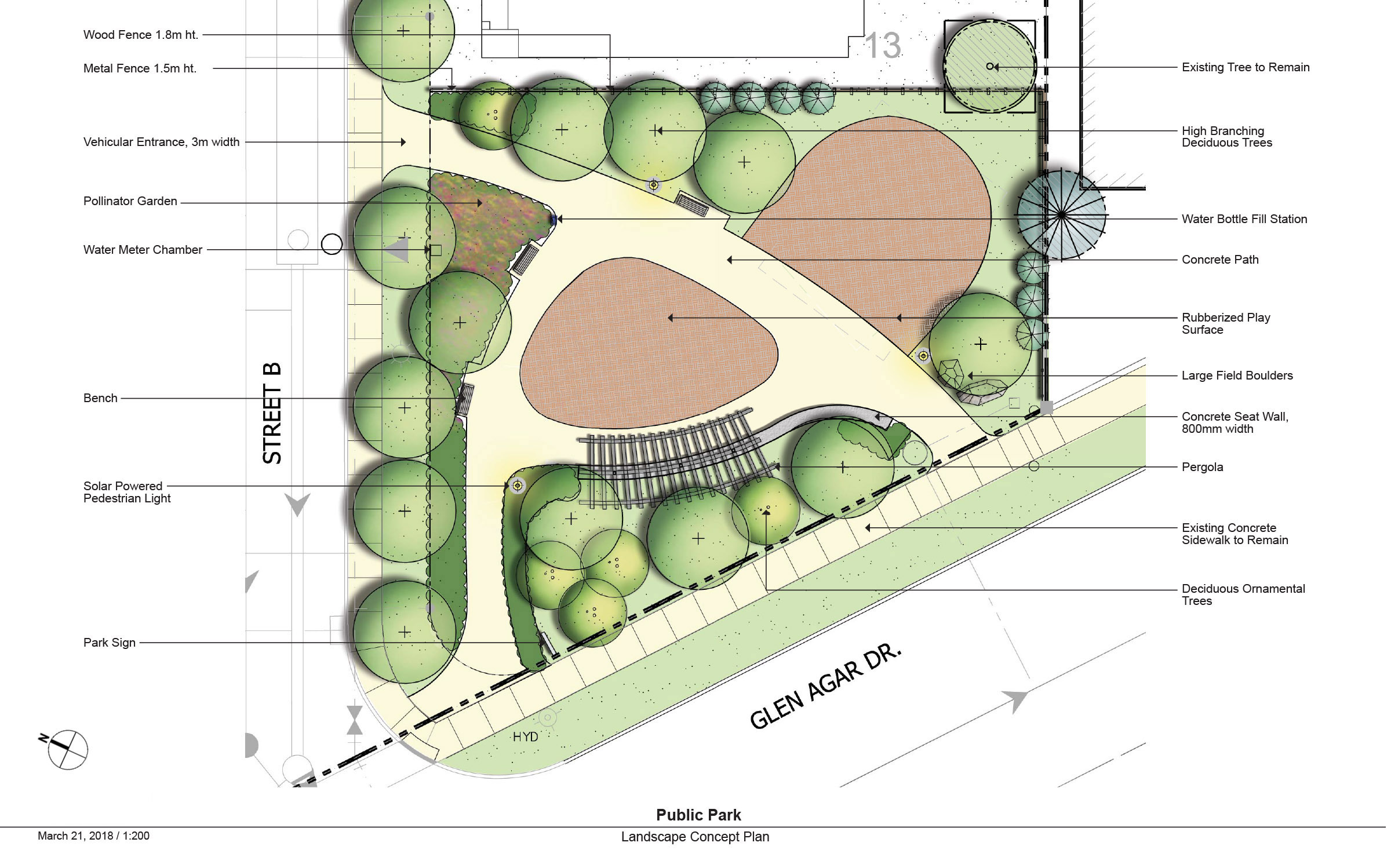 A landscape drawing showing the location of gardens, playground spaces, trees and other landscape features in the new park.