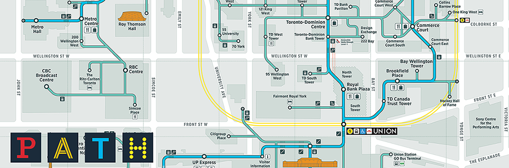 PATH wayfinding map shows underground pedestrian walkway network in Toronto's downtown.