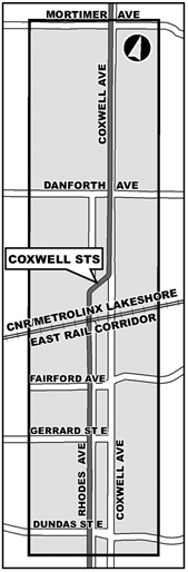 This is a map of the project study area, showing the Coxwell Sanitary Trunk Sewer from Mortimer Avenue in the north, to Dundas Street East in the south.
