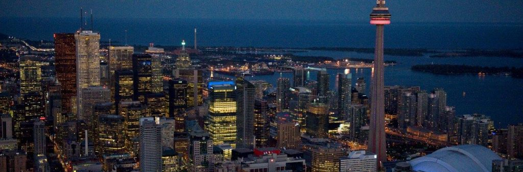 Ariel view of Toronto at night
