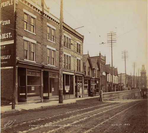 This is an archival photograph of Queen Street West at Gwynne Ave in 1896.