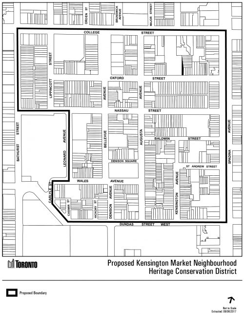 This is a map showing the proposed boundary for the Kensington Market HCD Plan