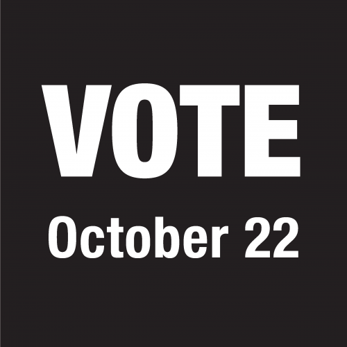 Black box with Vote October 22 written in white