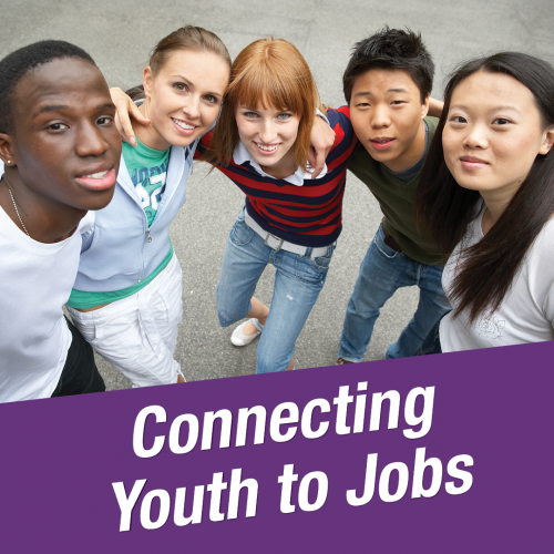 An image of several young people with the words Connecting Youth to Jobs