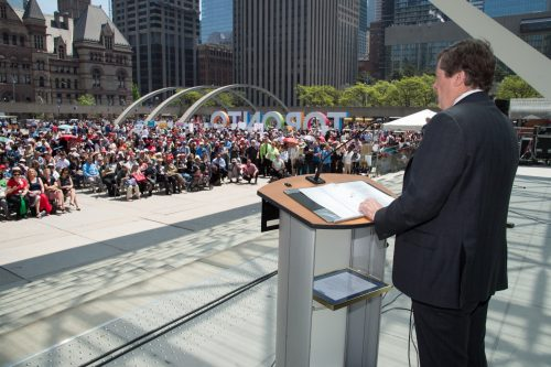 Mayor Tory addresses the crowd at the 2017 Toronto Newcomer Day.