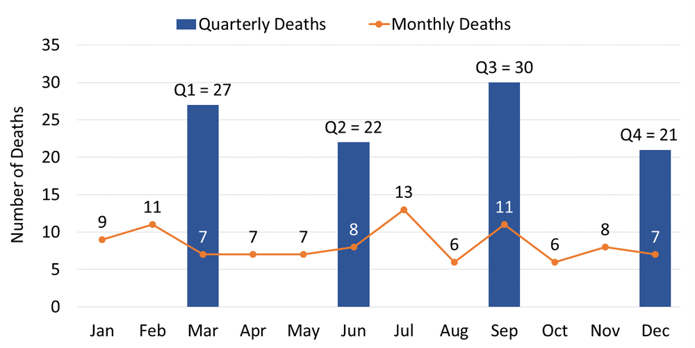 Graph shows the number of homeless deaths per quarter and per month. Q1 = 27, Q2 = 22, Q3 = 30, Q4 = 21.