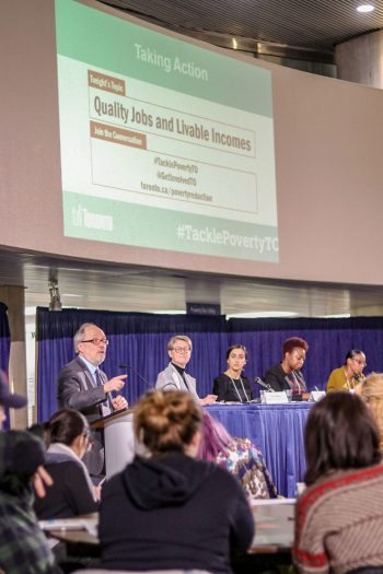 Councillor Mihevic addressing the panel and attendees of the first Tackle Poverty Strategy event on March 12 about Quality Jobs and livable incomes