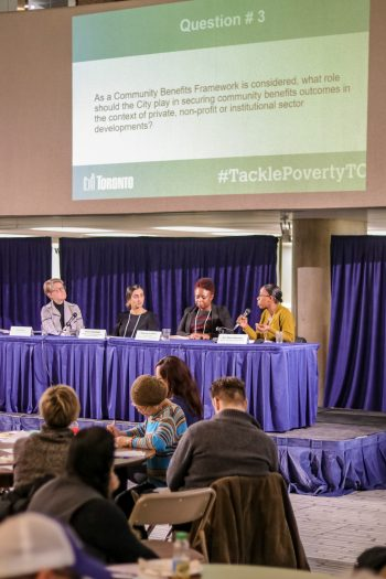 Panelists answering questions at the first Tackle Poverty TO event on March 12 about quality jobd and livable incomes