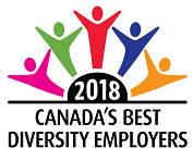Canada's best diversity employer for 2017 logo with five stick figures of people cheering