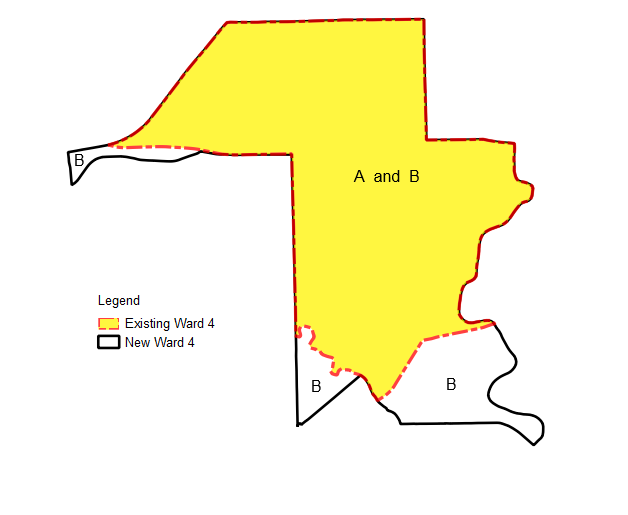 Figure 1 - A diagram showing both the boundary outlines for Existing Ward 4 (A) and New Ward 4 (B) overlaid on top of each other. The diagram demonstrates that while 100% of Existing Ward 4 (A) fits inside New Ward 4 (B), the expanded New Ward 4 (B) contains additional geographic areas not previously covered by Existing Ward 4 (A). As such, it is calculated that New Ward 4 (B) is comprised of 83% of Existing Ward 4 (A).