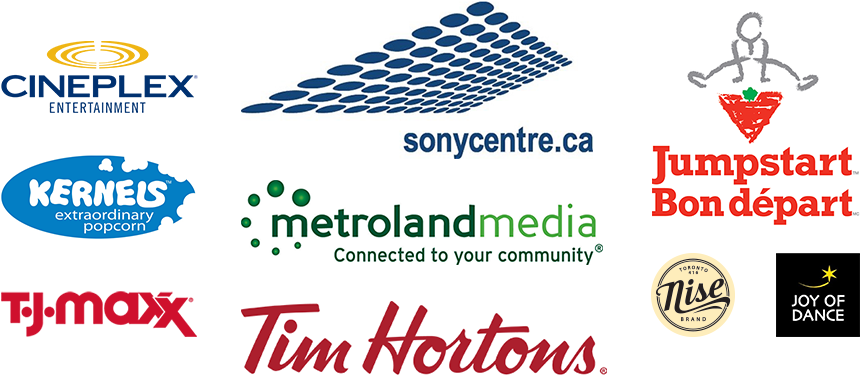 A collage of sponsors featuring the logos of Tim Hortons, Canadian Tire, Metroland Media, Sony Centre and more