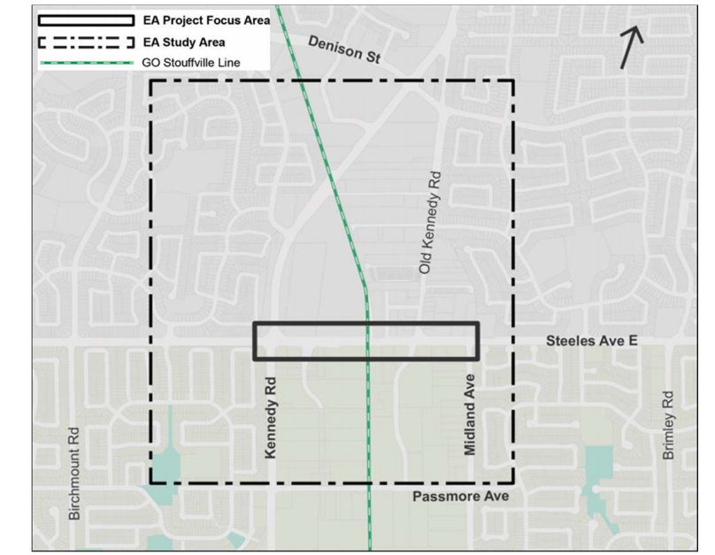 EA Project Focus Area / EA Study Area Map from Denison Street, Passmore Avenue, Midland Avenue and Birchmount Road