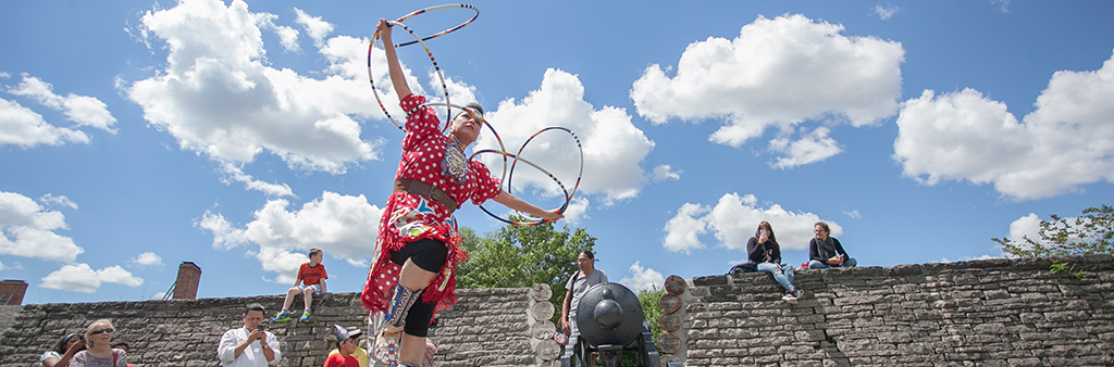 Hoop Dancer Rhonda Doxtator performs at the 2017 Indigenous Arts Festival.