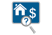 Graphic of a house, dollar sign and a question mark in a magnifying glass