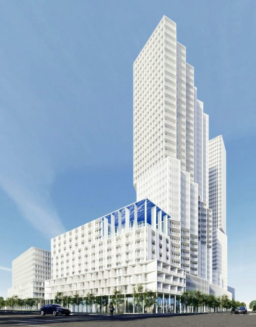 Perspective rendering of the proposal at 2450 Victoria Park Avenue