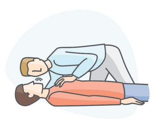 person listening to unconscious person breathing