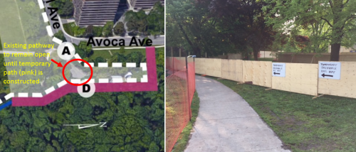 The photo on the left shows an interim pathway through the construction site near the main access point at Avoca and Rosehill where crews provided a path for residents to cross. The photo on the right shows the hoarding and fencing in place while the temporary pathway is being constructed.