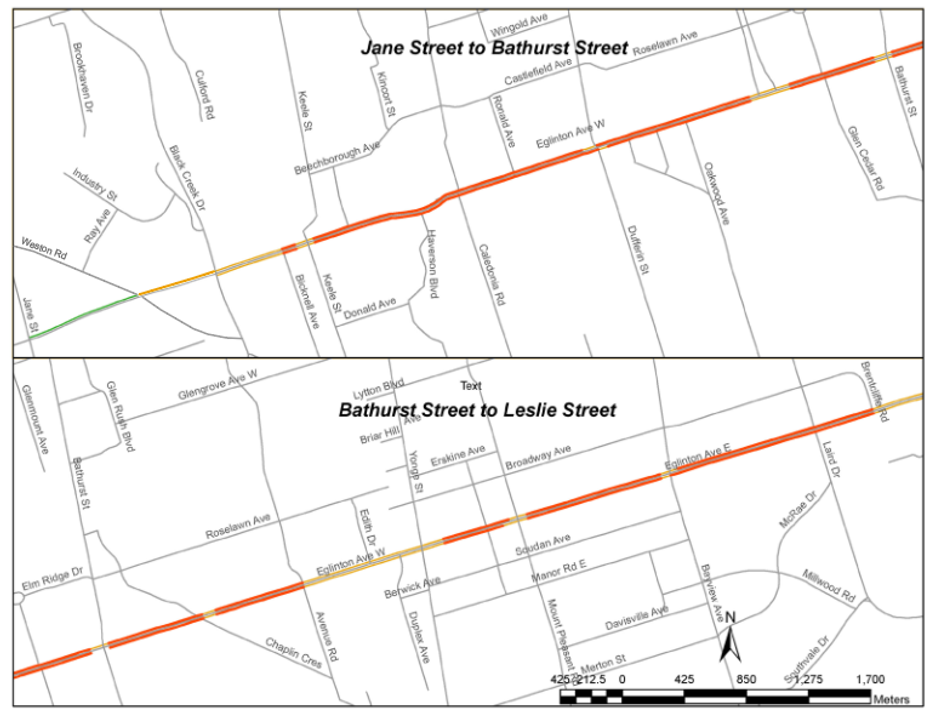 This map shows the project study area along Eglinton Avenue in two sections: from Jane Street to Bathurst Street in the west, and from Bathurst Street to Lesile Street in the East.