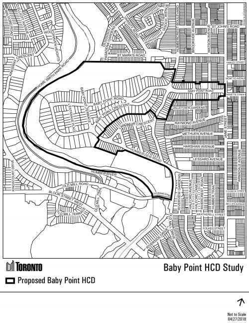 This map shows the proposed boundary of the Baby Point HCD